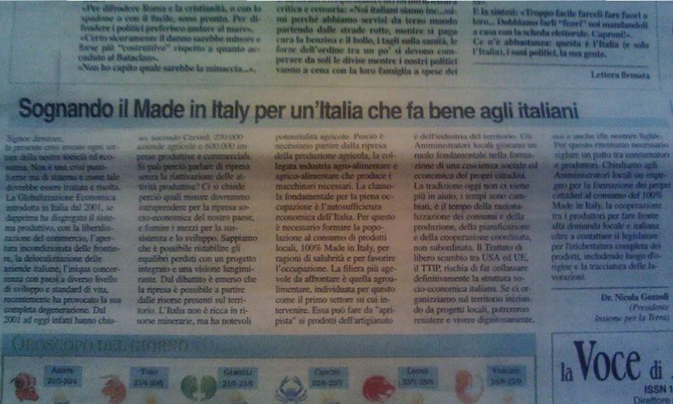 Sognando il Made in Italy per un'Italia che fa bene agli italiani