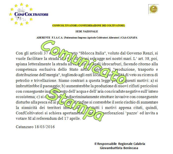 Benincasa, ConfColtivatori Calabria: basta #perforazioni pazze, votiamo SI al referendum del 17 aprile