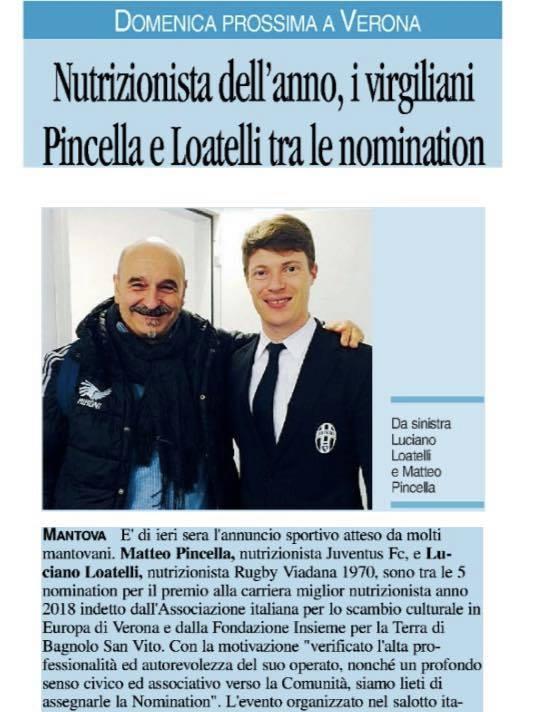 ALIMENTAZIONE E SPORT, Premio alla Carriera Miglior Nutrizionista: nomination per Pincella e Loatelli